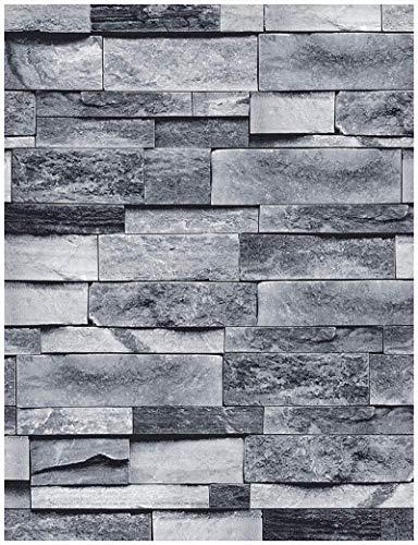 Ziegelstein-Tapete, Überfälzung, grau, 3D-Effekt, selbstklebend, abnehmbare Tapete, dekorative wasserdichte Tapete und Regaleinlage, Heimdekoration, 45 x 300 cm