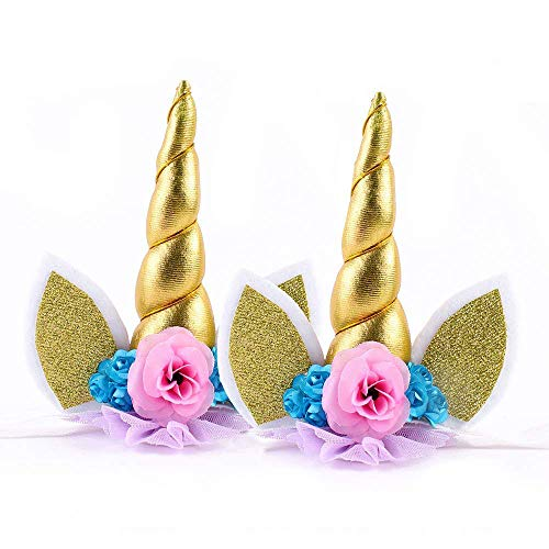 2 piezas Unicornio Cuerno Diadema con Flores Artificiales Accesorio de Pelo de Fiesta Diadema unicornio para Niñas Unicorn Headbands (oro)