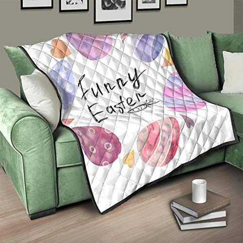 AXGM Colcha de Pascua, acuarela y huevos de pascua, manta con impresión, color blanco, 200 x 230 cm