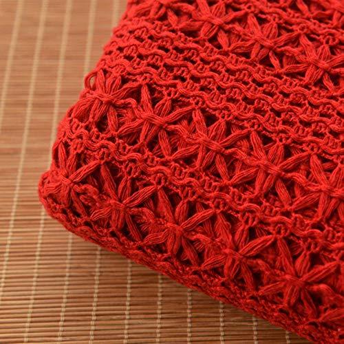 KIU 155x50cm rood katoen kant geweven doek jurk decoratieve mode sjaal