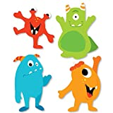 Big Dot of Happiness Monster Bash - DIY Shaped Little Monster Birthday Party or Baby Shower Cut-Outs - 24 Count