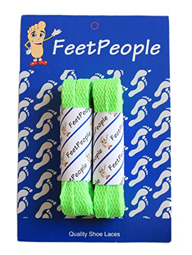 FeetPeople Flat Laces, 2 Pair, Neon Green, 27 inches x 2 Pair