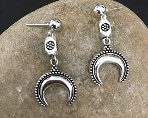 Indian silver moon drops earrings, Ethnic earrings, Boho drop earrings, Aztec jewellery, gypsy earrings, tribal earrings, silver drops