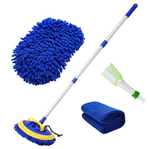 2 in 1 Microfiber Car Wash Mop Mitt with 45""