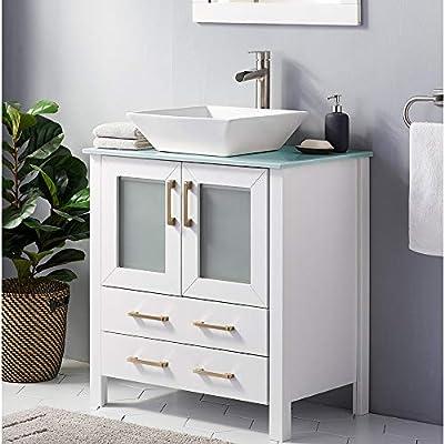 30 Inch White Bathroom Vanity Sink Combo,Bath Vanity with Sink Modern Bathroom Vanity Cabinet with Ceramic Sink,Single Bathroom Sink Cabinet with 1 Shelf 2 Drawers