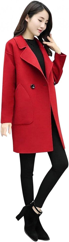 Womens Coat Lapel Long Sleeve Tops Solid Color Vintage Jacket Winter Button Woolen Warm Windbreakers