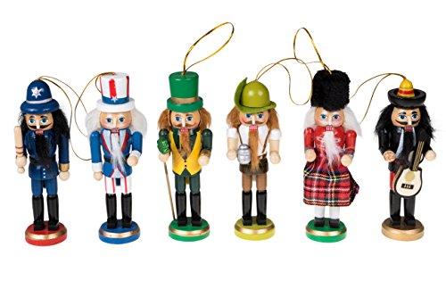 영리한 창조 혼합 국적 6 팩 5인치 전통 목조 호두까기 인형 축제 크리스마스 트리 데코