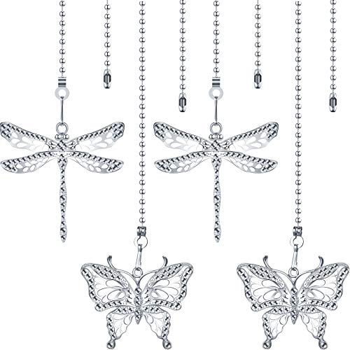 4 Pieces Ceiling Fan Chains Fan Pulls Chain Fan Extender 12 Inch Ceiling Fan Chain Extension Chain Extender Ornament with Butterfly and Dragonfly Chain Connector
