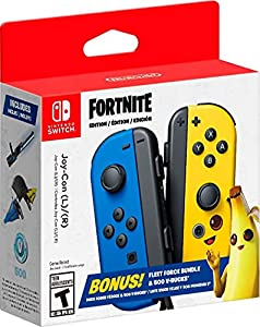 The Nintendo Switch Joy-Con Fortnite fleet force bundle includes a uniquely Designed blue Joy-Con (L) and a yellow Joy-Con (R) Emblazoned with Fortnite imagery inspired by the game's character, peely. It also includes 500 v-bucks and a download code ...