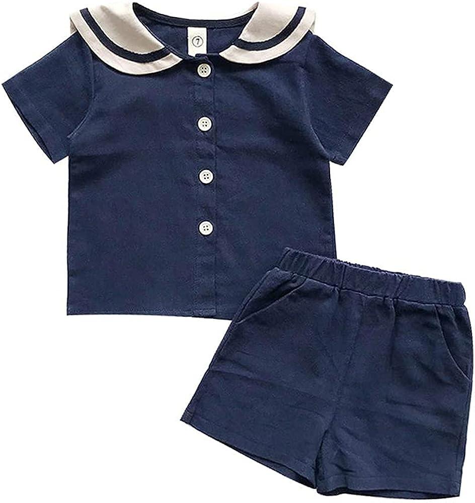 IZYJOY Toddler Baby Boy Girl Shorts Sets Summer Clothes Outfits Sailor Collar Short Sleeve Shirt Short Pant with Pocket 2Pcs