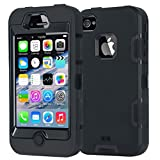 iPhone 4 Case,Apple iPhone 4 4S Case,Shockproof Heavy Duty Combo Hybrid Defender High Impact Body Rugged Hard PC & Silicone Case Protective Cover for Apple iPhone 4 4S (Black)