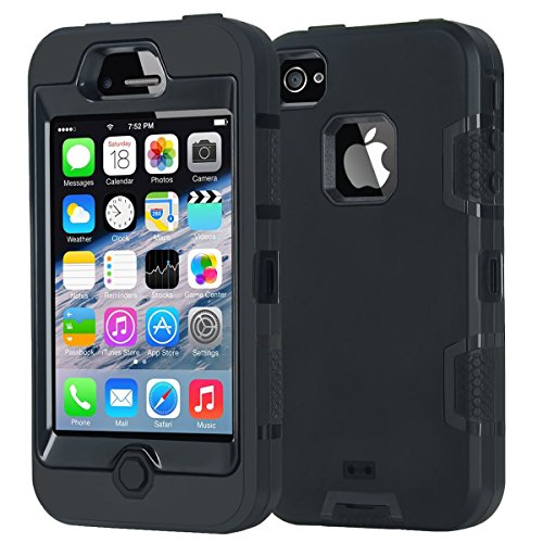 Korecase Compatible with iPhone 4 Shockproof Case Heavy Duty Hybrid High Impact Body Rugged Silicone Protective Cover with Dust Plug Black