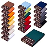 Topper Spannbettlaken/Laken F. BOXSPRINGBETT-Topper - 100% Feinste Mako-Baumwolle - 19 Farben - Sehr Gute ca. 170 g/m² (90x200-100x220 dunkelgrün 15)