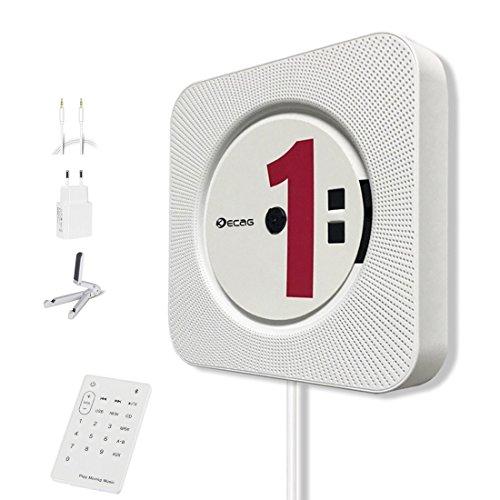 KECAG lettore CD Montabile a parete Speaker Bluetooth portatile Home Audio con telecomando FM Radio Collegamento HIFI Speaker USB MP3 3,5 mm cuffie jack AUX Input Output, Bianco …