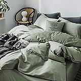 yaonuli Baumwolle Stickerei vierteilige einfarbig bestickte Baumwolle Matcha grün vierteilige Bettlaken-2,0 m [geeignet für 220 * 240 Quilt]