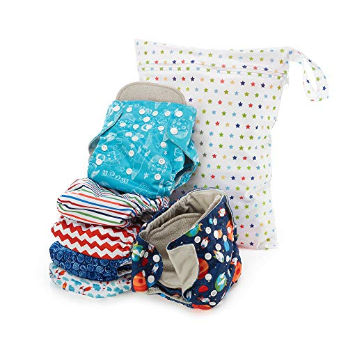 Simple Being Reusable Cloth Diapers, Double Gusset One Size Adjustable Washable Soft Absorbent Waterproof Cover Eco-Friendly Unisex Baby Girl Boy with six 4-Layers Microfiber Inserts (Outer Space)