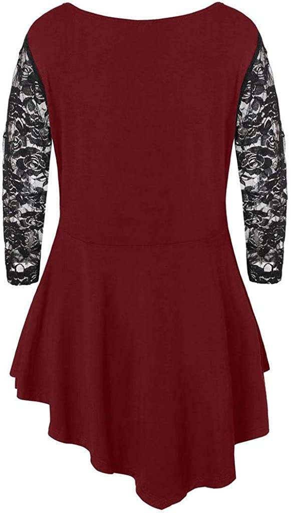 ZEELIY Damen Große Größen Oberteile Sommer Mode Frauen Chiffon Bänder Laterne halbe Hülse Mesh Perspektive Tops Rot