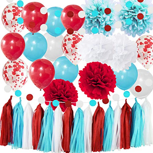 Bridal Shower Decorations Aqua Blue White Confetti Balloons for Nurse Graduation Decorations1st Birthday Party Supplies/ Airplane Party Decor
