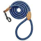 Mile High Life Laisse en corde d'escalade pour chien, avec poignée en cuir et fermoir robuste en métal, 1,2m/1,5m/1,8m