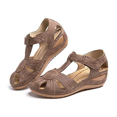 Sandali Donna Plateau Estivi Ciabatte Chiuse con Zeppa Vintage Pantofole alla Caviglia Comode Piattaforma Scarpe Tacco Mules 2 Marrone 36 EU
