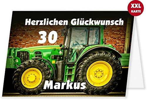 Unser-Festtag Große Geburtstagskarte für Landwirte, Lohnunternehmer, mit Traktor bzw. Trecker. Zum Geburtstag. XXL groß Din A4. Mit Wunschtext und Wunsch-Alter, da ändarbar!