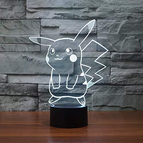Pokemon Pikachu 3D LED Nachtlicht, elstey 3D optische Illusion Visual Lampe 7Farben Touch Schreibtisch Lampe