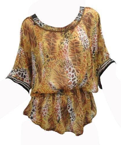 Preisvergleich Produktbild LA LEELA leichte Schiere Chiffon 5 Unzen Vintage gefiedert Rundhalsausschnitt hawaiische Badeanzug 4 in 1 Strand-Bikini-Vertuschung Grund Kleidung lässig Badebekleidung Resort tragen Frauen braun