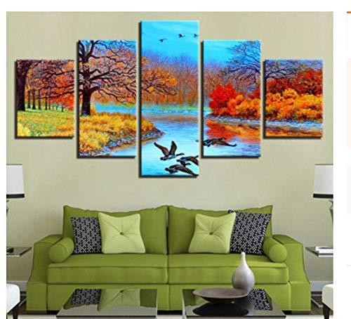 JYCXOZ Sbzjjfive Panel Pintura Tinta Pintura hogar Sala de Estar Bosque Wulian árbol Paisaje decoración Pintura sofá Fondo Pared Pintura Mural