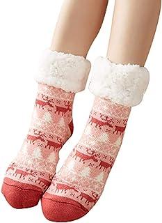 ULEEMARK, Mujer Calcetines Antideslizantes Mantener Caliente Caseros Súper Suaves Forrados de Lana Para el Invierno Calcetines