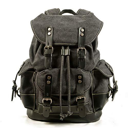 KIUY Bolsa de Vintage Mochilas de Lona para Hombres Daypacks Impermeable Lienzo Mochila Mochilas de Mochila Cera Grande Paquete de Viaje de montañismo