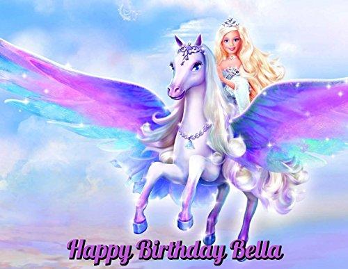 Barbie Magic of Pegasus Edible Image Photo Cake Topper Sheet Personalized Custom Customized Birthday Party - 1/4 Sheet - 79674