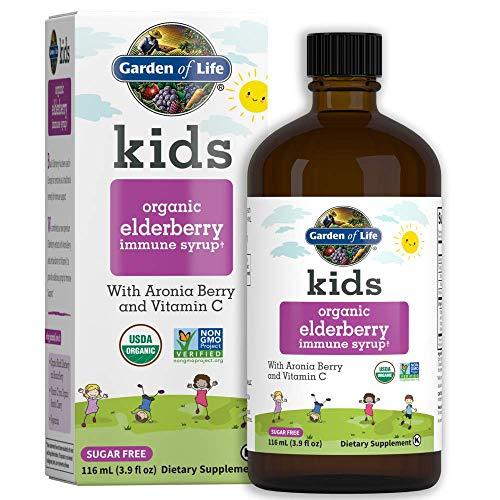 Garden of Life Kids Organic Elderberry Immune Syrup with Vitamin c for Immune Support - Sugar Free Sambucas Elderberry Syrup for Kids Plus Aronia Berry & Acerola Cherry, 116 Ml (3.9 Fl Oz) Liquid