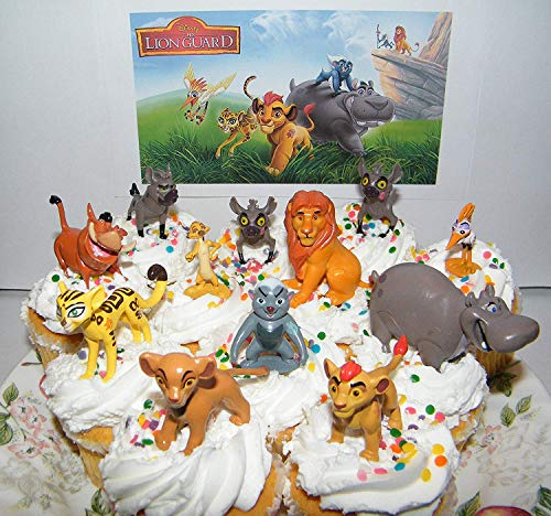 The Lion Guard Disney Deluxe Mini Cake Toppers Cupcake Decorations Set of 13 Figures with The 5 Lion Guard Figures, King Simba, Simon, Pumon and More!