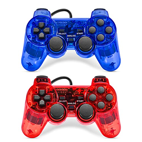 Cipon Wired Controllers Compatible with PS-2 Console, 2 Pack Vibration Gamepad Remote with 2.2M Cable (Red&Blue)