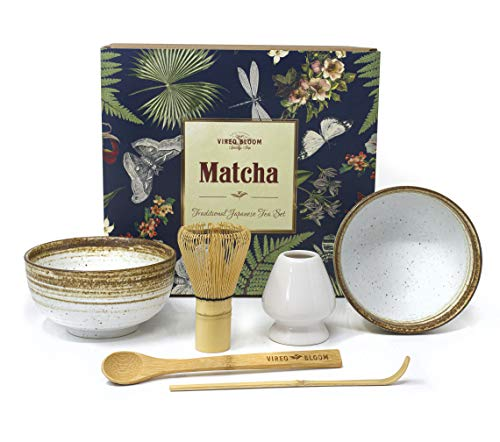 Vireo Bloom Green Tea Matcha Ceremony Cup Set - 450 ml Chawan Bowls (Chawan) set off 2, Whisk (Chasen), Stand (Naoshi), Scoop (Chashaku) - Matcha Tools - Traditional Japanese Matcha Utensils Kit
