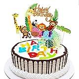 Keilafu Primeros de la torta, pancarta de pastel, Juego de 29 adornos para decoración de tartas de feliz cumpleaños para niños, adornos para cupcakes con tema de zoológico de dibujos animados