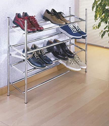 A-Generic Bandeja de Zapatos Extendible, Amplio Almacenamiento de Zapatos para 10 Pares de Zapatos, apilable, también para el vestidor, la óptica cromada-A_35 x 23 x 119 cm