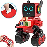 HBUDS Robots for Kids, Remote Control Robot Intelligent Interactive Robot LED Light Speaks Dance Moves Built-in Coin Bank Programmable Rechargeable RC Robot Kit for Boys, Girls,Age 8 + Years (Red)