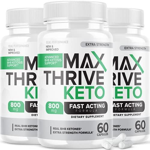 (3 Pack) Max Thrive Keto Pills Fast Acting Advanced Energy Ketones (180 Capsules)