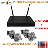 ZEUS CCTV Security Floodlight Surveillance Camera Standalone Kit with 4CH NVR System + 4 Twist in Flood Light Cameras Complete Install Kit (Proudly Assembled in The USA)