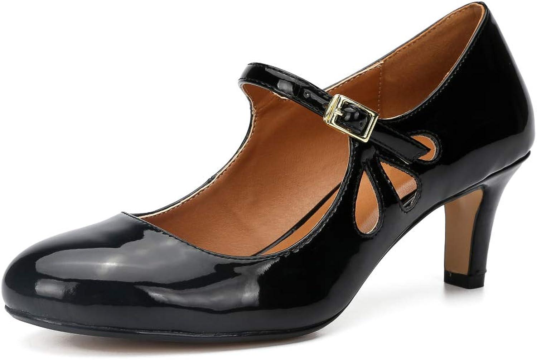 LIURUIJIA Women Mary Jane Kitten Heels Retro Ankle Strap shoes Teardrop Cutout Dress Pumps ZY19-6