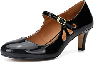 Women's Men's Mary Jane Hollow Out Round Toe Mid Kitten Heel Pumps Shoes