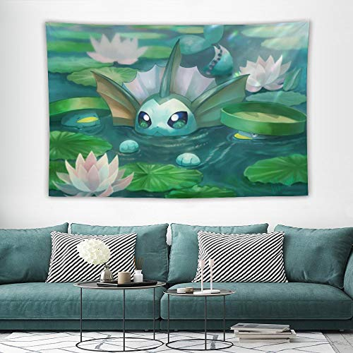 Tapestry,Vaporeon Lotad Green,Best children birthday present,Cartoon Anime Wall Hanging Art for Bedroom Living Room College Dorm Home Decor,60x40 inches
