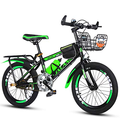 XIAOTING Children's Bicycles,18/20/22 Inch Boys and Girls Bikes Mountain Kids Bike Sports Outdoor Cycling for 6-15 Years Old Kids,with Back Seat and Basket (Color : Green, Size : 20 inches)