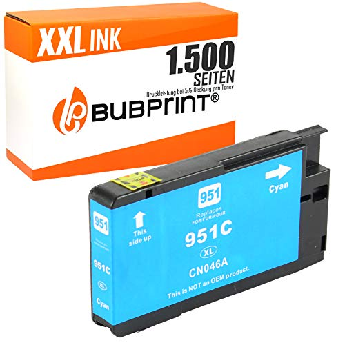 Bubprint Druckerpatrone kompatibel für HP 951XL für Officejet Pro 251DW 276DW 8100 ePrinter 8600 Plus 8610 8615 8616 8620 8625 e-All-in-One Cyan