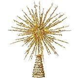 WeRChristmas Puntale per Albero di Natale Glitterato con Luci LED, Oro, 32 cm
