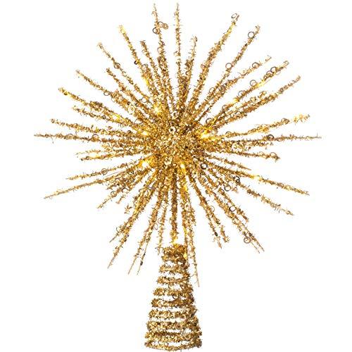 WeRChristmas Decoración para árbol de Estrella con 25 Luces LED cálidas, Multicolor, 32 cm