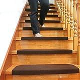 Liapianyun 15 Conjunto De Escalera De Ratón Paso Alfombra Antideslizante Adhesivo Manta/Estera De Huella De Peldaño (Café, 65 * 20 Cm),Marrón