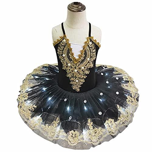 Tut de Ballet Led Profesional para nias, Camisola con faldn, Leotardo de Encaje con gradas, Trajes de tut de Baile del Lago de los cisnes,Negro,100cm