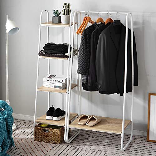 Perchero de pie de metal con 4 estantes de madera, organizador de armario para dormitorio, entrada, boutiques, color blanco y roble claro